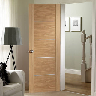 Image: Portici Oak Flush Door - Aluminium Inlay - Prefinished - From Xl Joinery