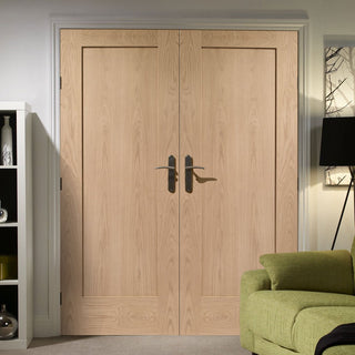 Image: Pattern 10 Oak 1 Panel Door Pair