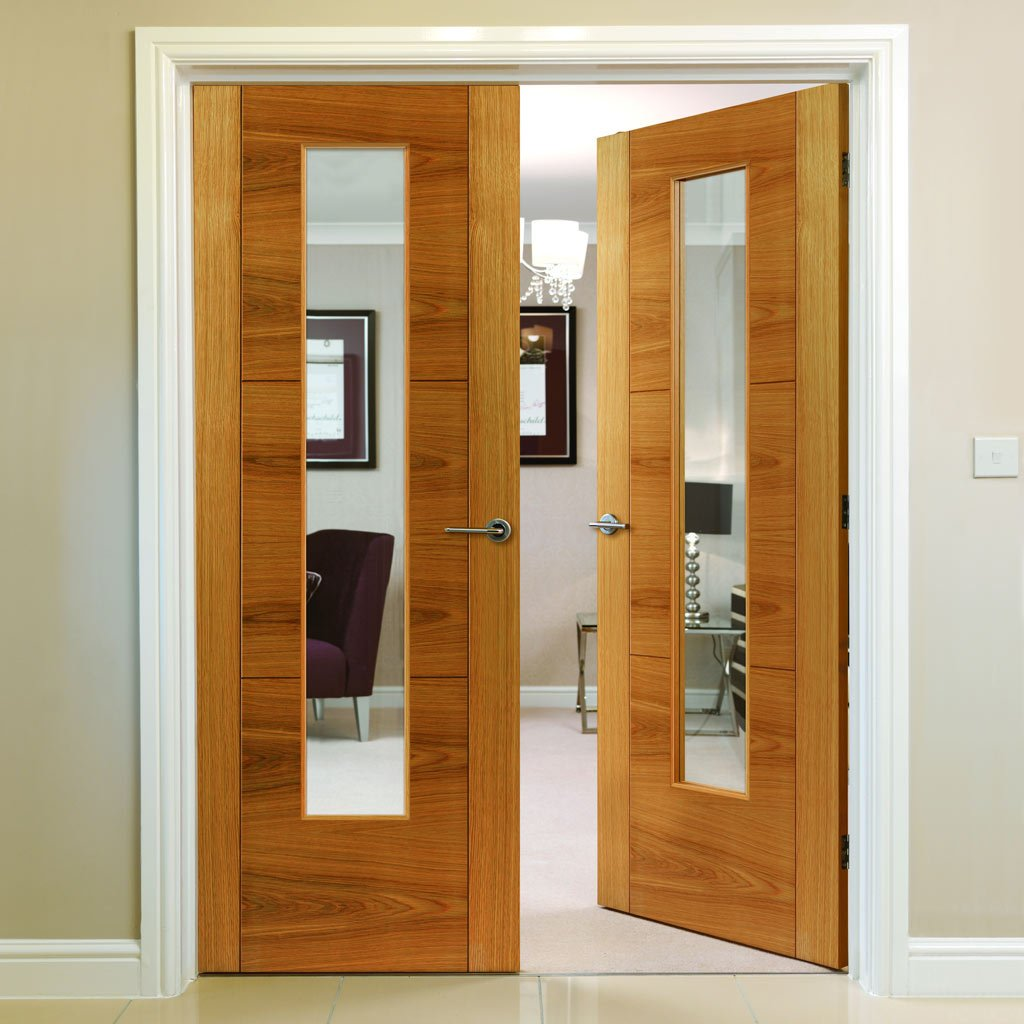 Brisa Mistral Oak Veneered Door Pair - Clear Glass - Decorative Grooves and Pre-finished
