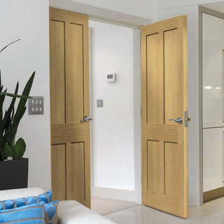 Image: J B Kind Rushmore Oak Door Pair - Flat Panels
