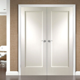 Image: Simpli Double Door Set - Pattern 10 Panelled Door - White Primed