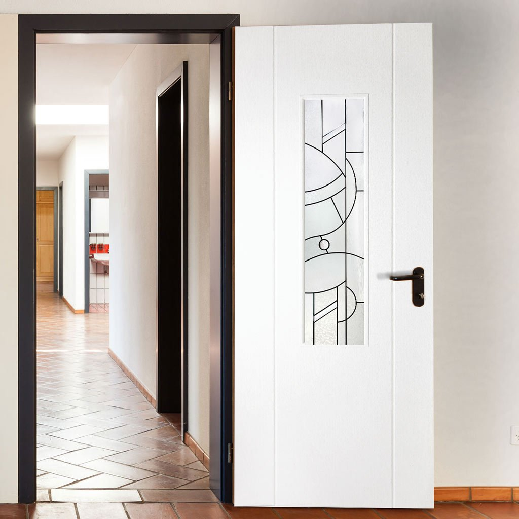 White PVC contemporary door with lightly grained faces forfar abstract style toughened clear glass