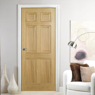 Image: FD30 Fire Door, Regency 6 Panel Oak Door - No Raised Mouldings - 1/2 Hour Fire Rated - Prefinished