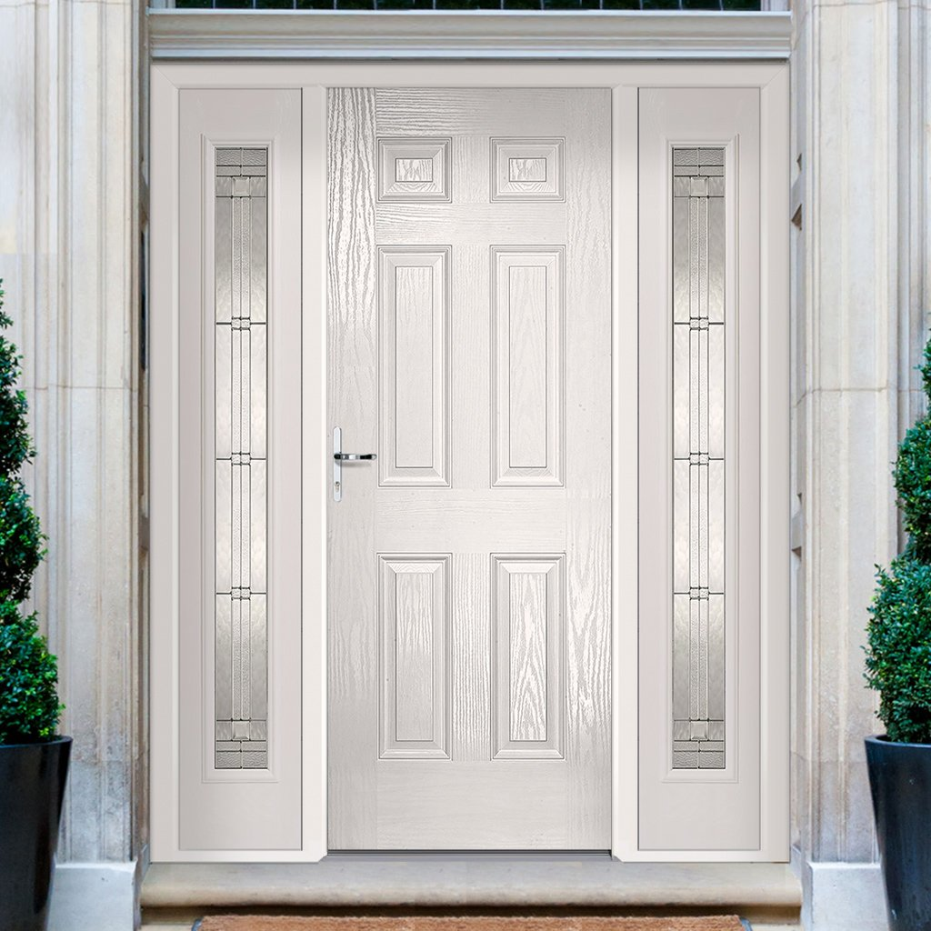 GRP White Colonial 6 Panel Composite Door -  Two Leaded Sidelights