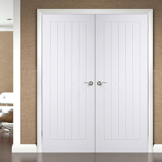 Image: Simpli Double Door Set - Suffolk Flush Door - White Primed
