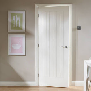 Image: Bespoke Suffolk White Primed Fire Door - Vertical Lining - 1/2 Hour Fire Rated