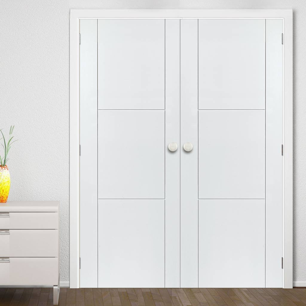 J B Kind Mistral White Primed Flush Door Pair