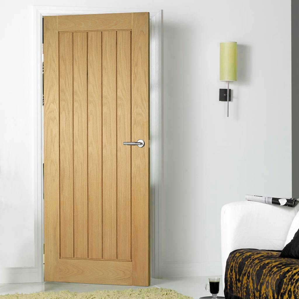 FD30 Fire Door, Mexicano Oak Door - Vertical Lining - 1/2 Hour Fire Rated - Prefinished