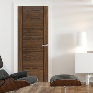 Image: J B Kind Walnut Tigris Veneered Fire Door - 1/2 Hour Fire Rated - Prefinished