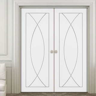 Image: Simpli Double Door Set - Pesaro Flush Door - White Primed