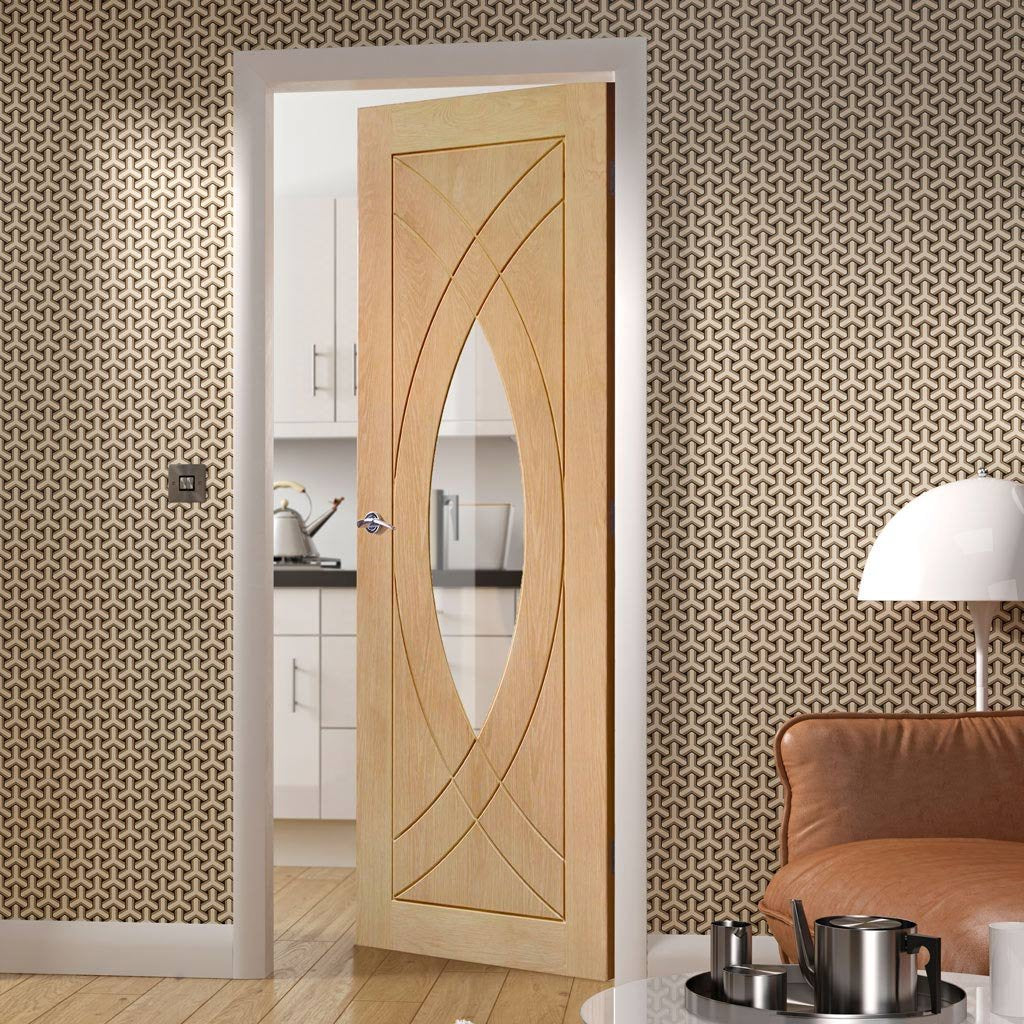 Door and Frame Kit, Treviso Oak Door - Clear Glass