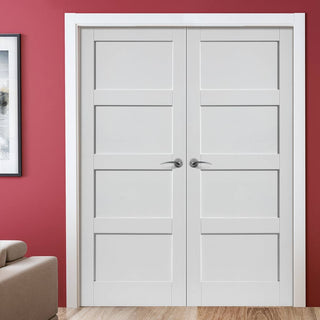 Image: J B Kind Montserrat Fire Door Pair - White Primed - 30 Minute Fire Rated