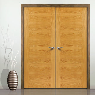 Image: J B Kind Ostria Flush Oak Door Pair - Prefinished