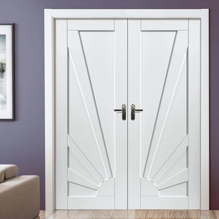 Image: J B Kind Calypso Aurora White Primed Panel Door Pair
