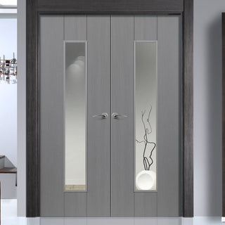 Image: J B Kind Ardosia Slate Grey Flush Door Pair - Clear Glass - Prefinished