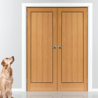 Image: J B Kind Clementine Door Pair - Oak and Walnut Inlays - Prefinished