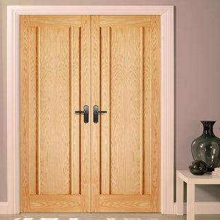 Image: LPD Joinery Lincoln 3 Panel Oak Fire Door Pair - 30 Minute Fire Rated