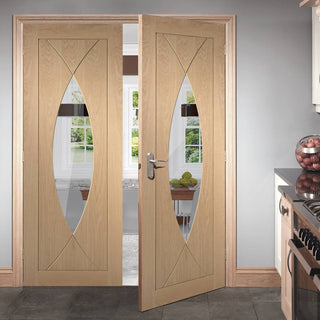 Image: Pesaro Oak Fire Door Pair - Clear Glass