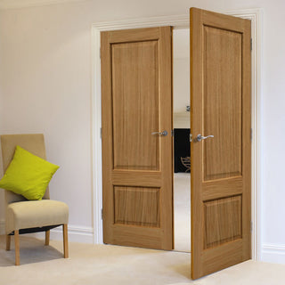Image: J B Kind Oak Trent 2 Panel Door Pair