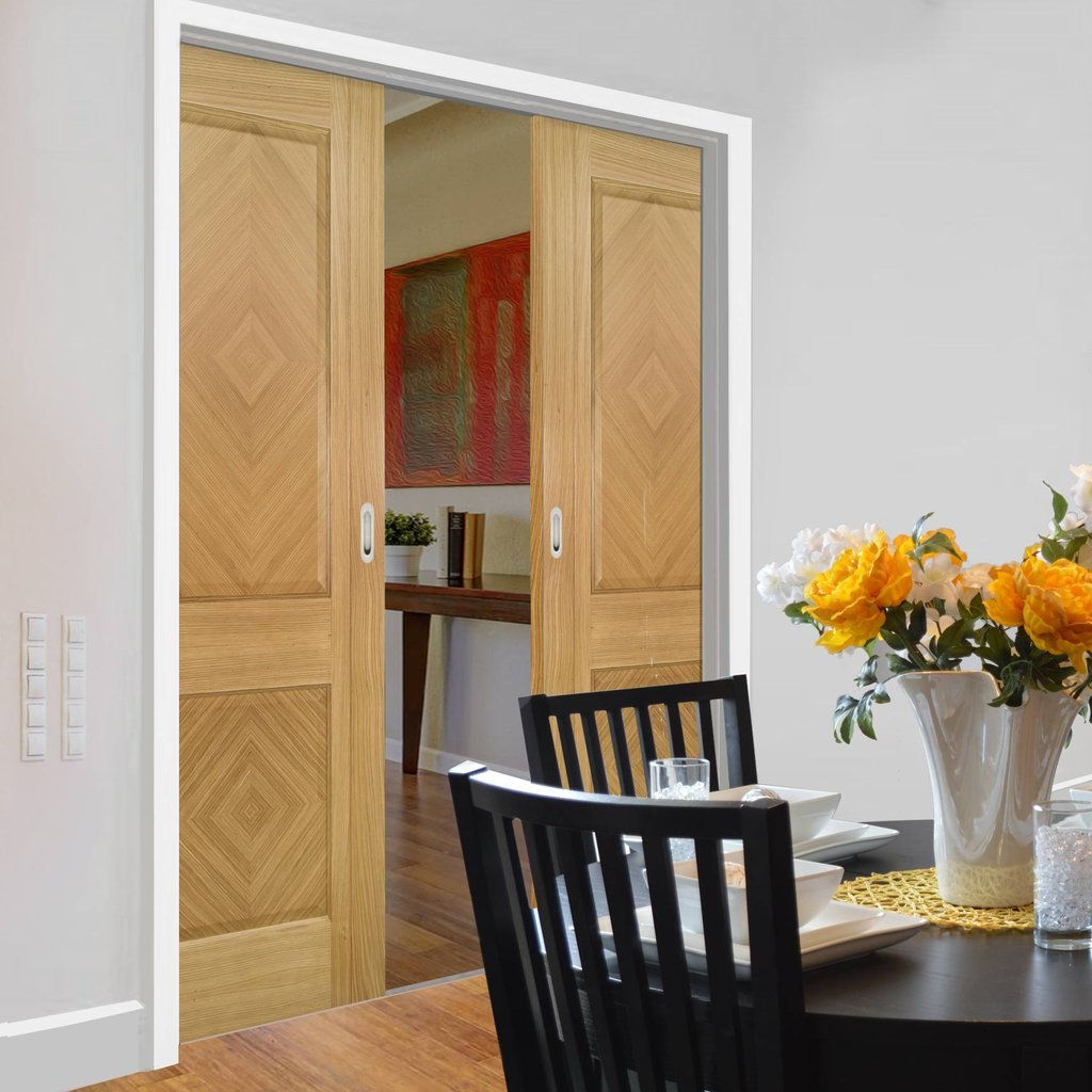 Kensington Oak Panel Double Evokit Pocket Doors - Prefinished