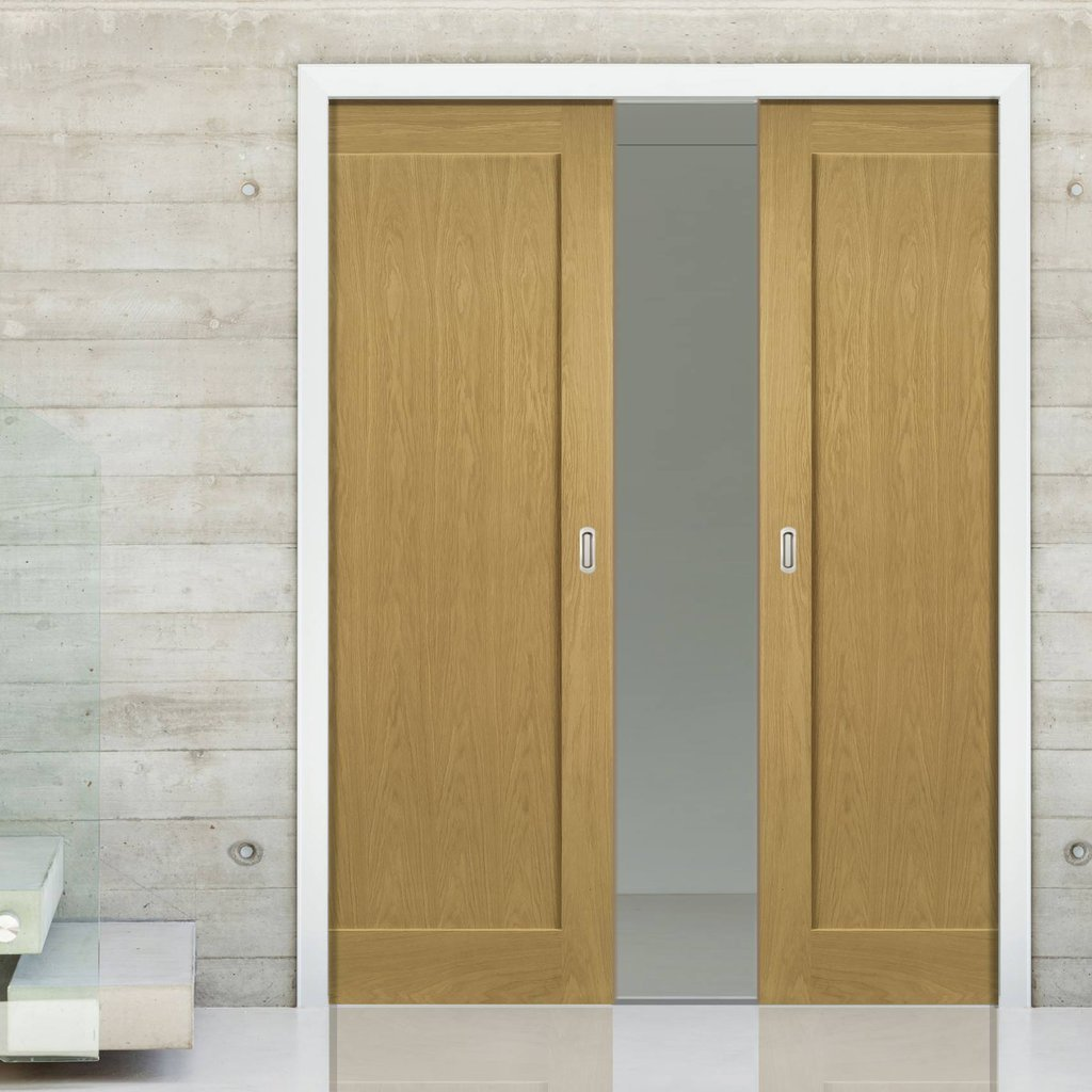 Walden Real American Oak Veneer Double Evokit Pocket Doors - Unfinished