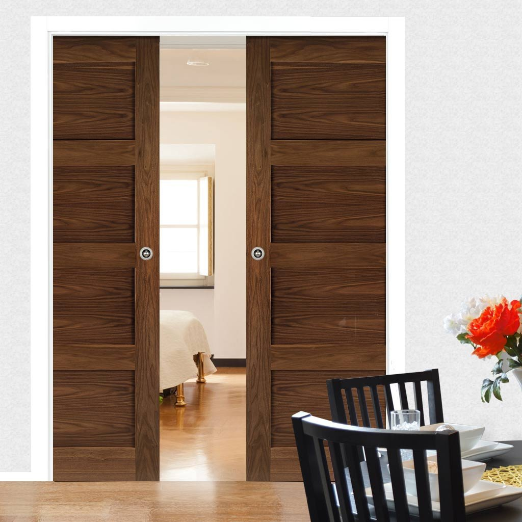 Coventry Walnut Shaker Style Double Evokit Pocket Doors - Prefinished