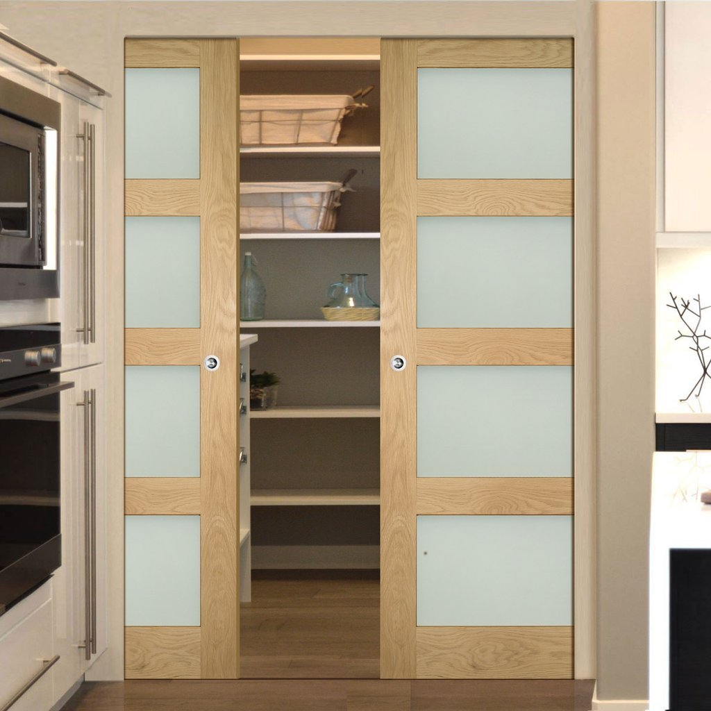Coventry Shaker Style Oak Absolute Evokit Double Pocket Doors - Frosted Glass - Unfinished