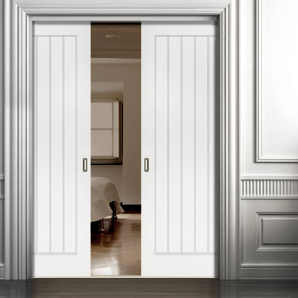 Ely Double Evokit Pocket Doors - White Primed