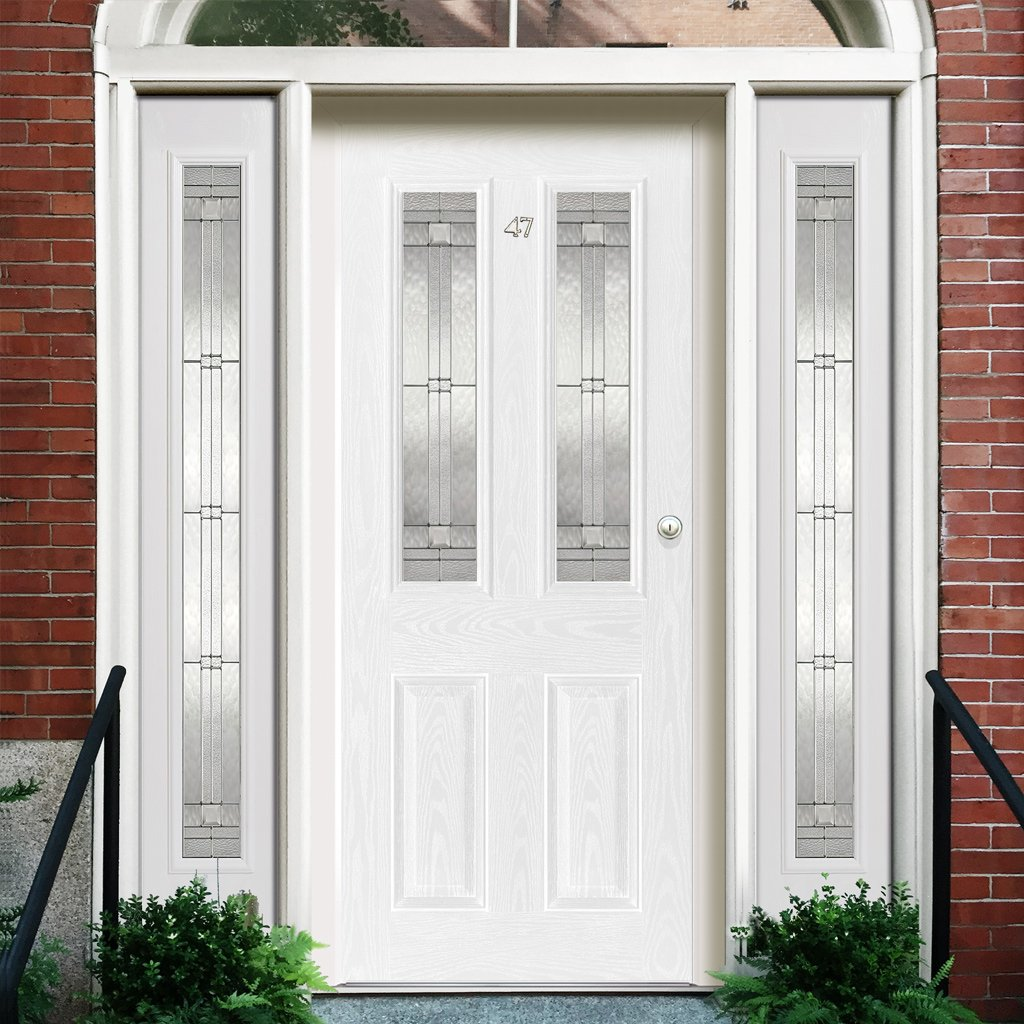 GRP White Malton Leaded Double Glazed Composite Door - Two Leaded Sidelights