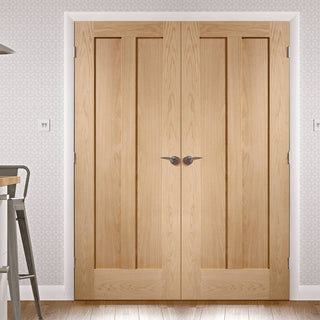 Image: FD30 Fire Pair, Novara Oak 2 Panel Door Pair - 30 Minute Rated