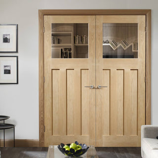 Image: Bespoke DX 1930's Oak Glazed Door Pair - Prefinished