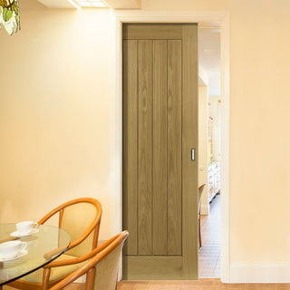 Image: Ely Real American White Oak Veneer Single Evokit Pocket Door - Prefinished