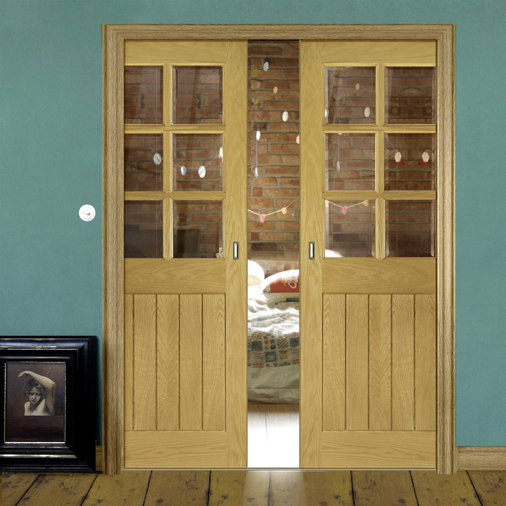 Ely Oak Double Evokit Pocket Doors - Clear Bevelled Glass - Unfinished