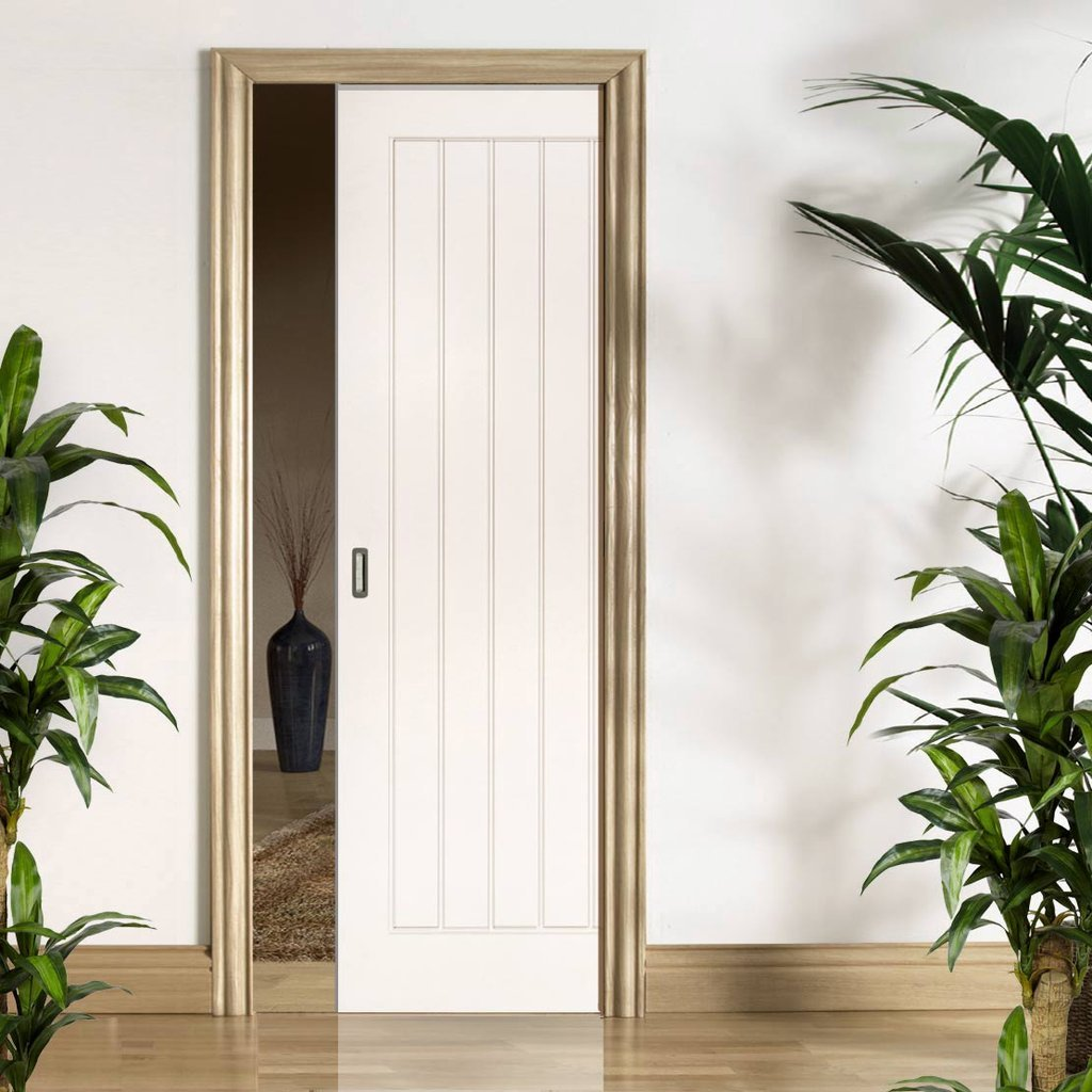 Ely Single Evokit Pocket Door - White Primed