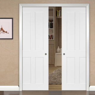 Image: Eton Victorian Shaker Double Evokit Pocket Doors - White Primed
