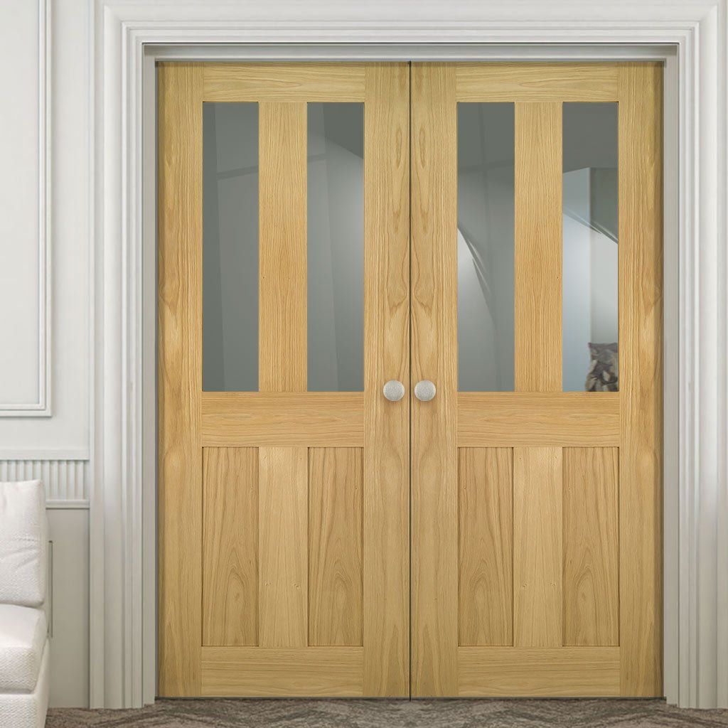 Eton Real American White Oak Veneer Door Pair - Clear Glass - Unfinished