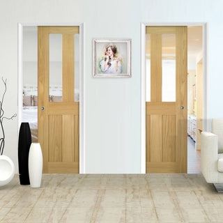 Image: Eton Real American White Oak Veneer Unico Evo Pocket Doors - Clear Glass - Unfinished