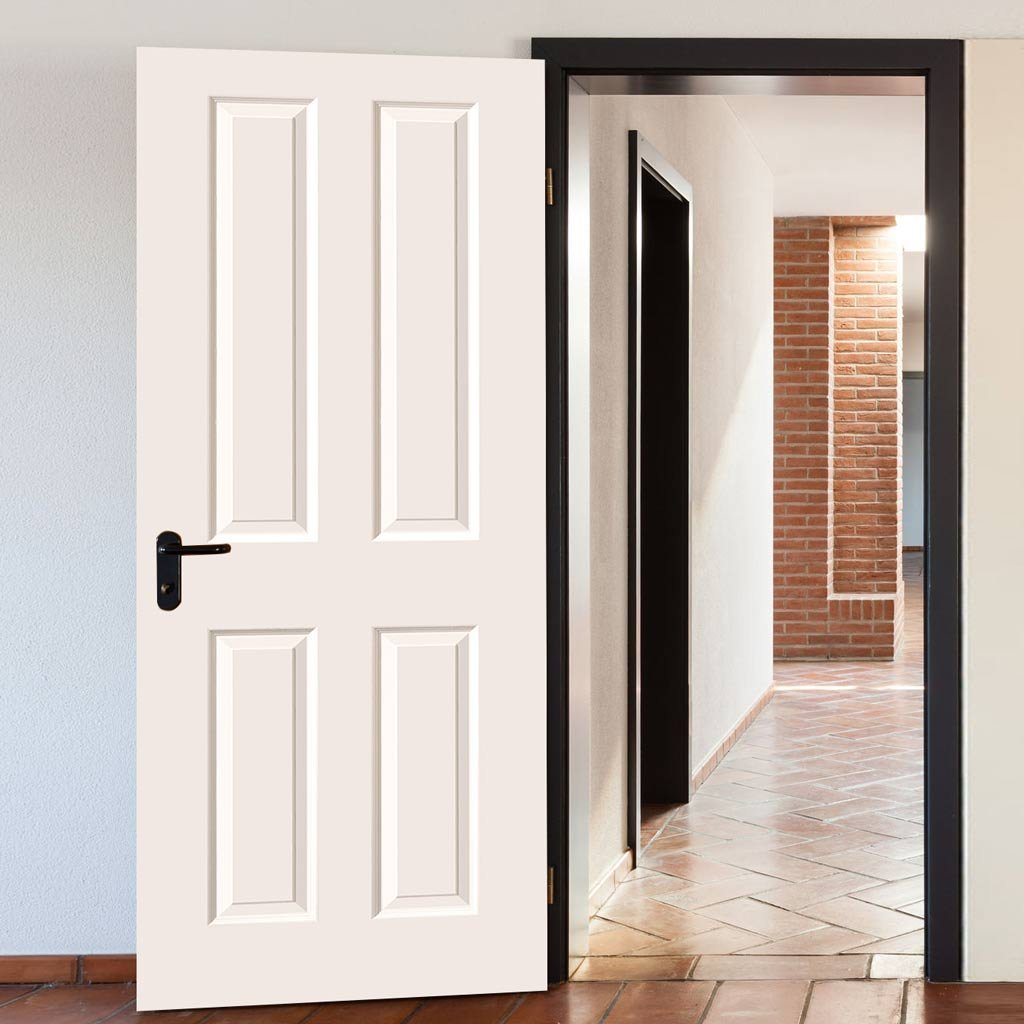 White Primed 4 Panel Fire Door with Smooth Surfaces is 1/2 hour Fire Rated
