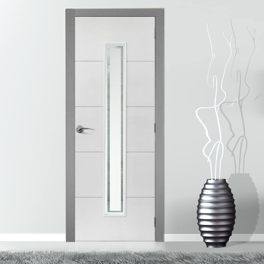 Limelight Dominion White Primed Flush Door Clear Glass 12 Hour Fi