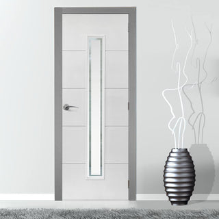 Image: J B Kind White Contemporary Dominion Primed Flush Fire Door - Clear Glass - 1/2 Hour Fire Rated