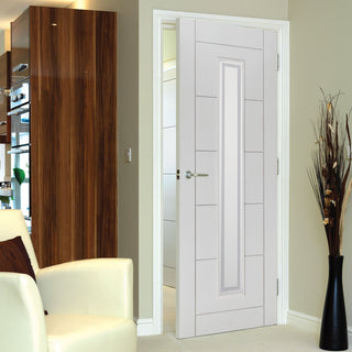 Image: Limelight Barbican Door White Primed Flush Door - Clear Glass - 1/2 Hour Fire Rated