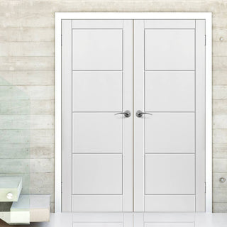 Image: J B Kind Quattro Smooth Moulded Panel Fire Door Pair - 1/2 Hour Fire Rated - White Primed