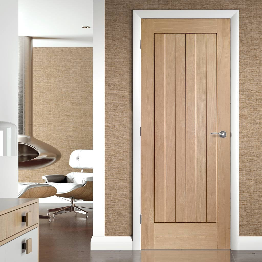 Fire Rated Suffolk Oak Door - Vertical Lining - 1 Hour Fire Rated