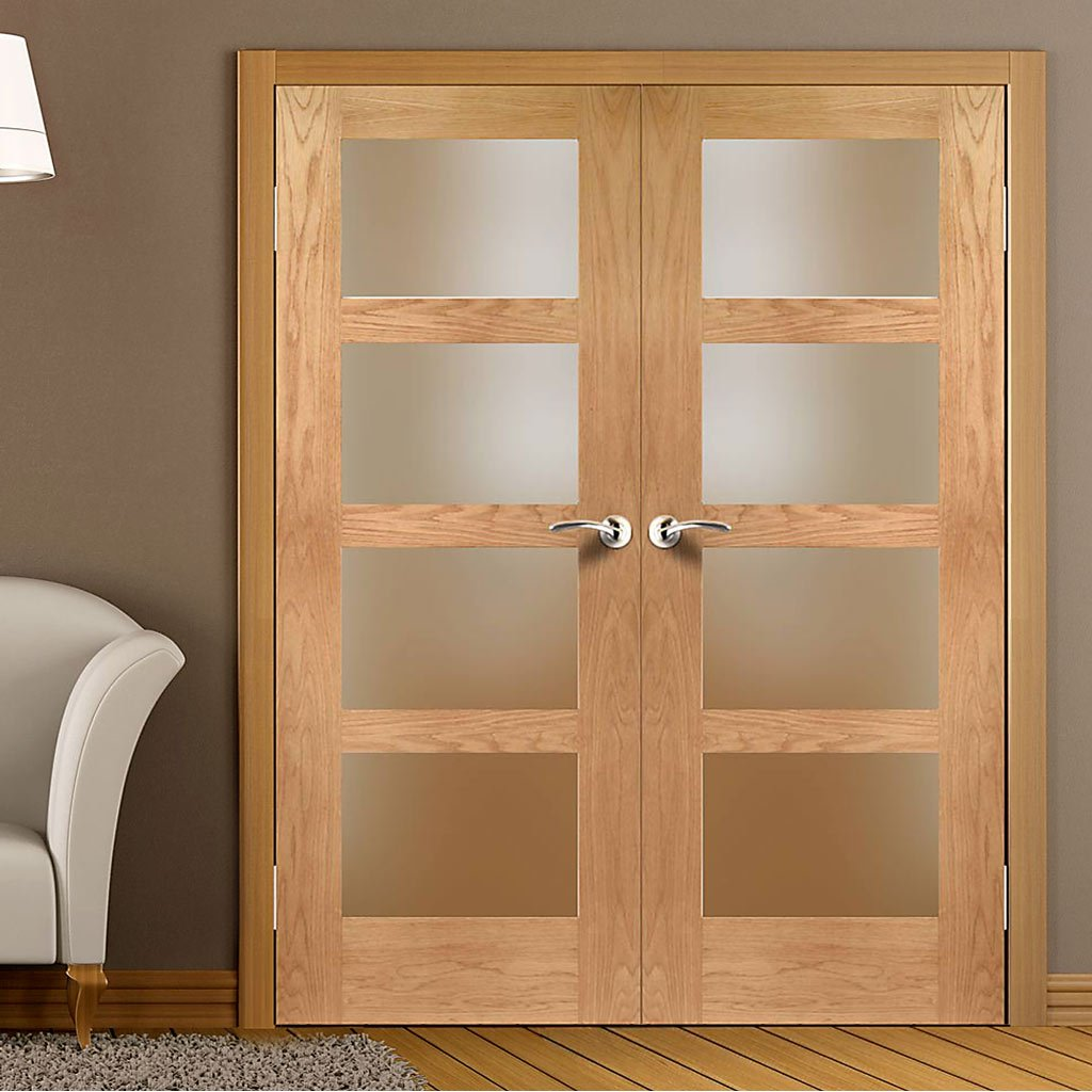 FD30 Fire Pair, Shaker 4 Pane Oak 1/2 Hour Rated Door Pair - Obscure Glass