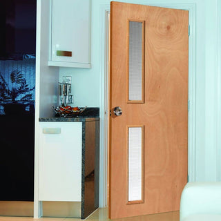 Image: STP Flush Plywood Kintt6G Fire Door - 1/2 Hour Fire Rated  - Wired Fire Glass