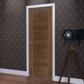 Image: J B Kind Walnut Mistral Flush Fire Door - Decorative Grooves - 30 Minute Fire Rated - Prefinished