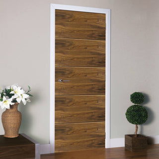 Image: J B Kind Walnut Lara Fire Door with Horizontal Grooves - 1/2 Hour Fire Rated - Prefinished