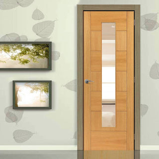 Image: Brisa Sirocco Flush Oak Veneered Door - Clear Glass - Prefinished