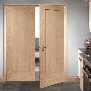 Image: FD30 Fire Pair, Pattern 10 Style 1 Panel Oak Door Pair - 30 Minute Rated
