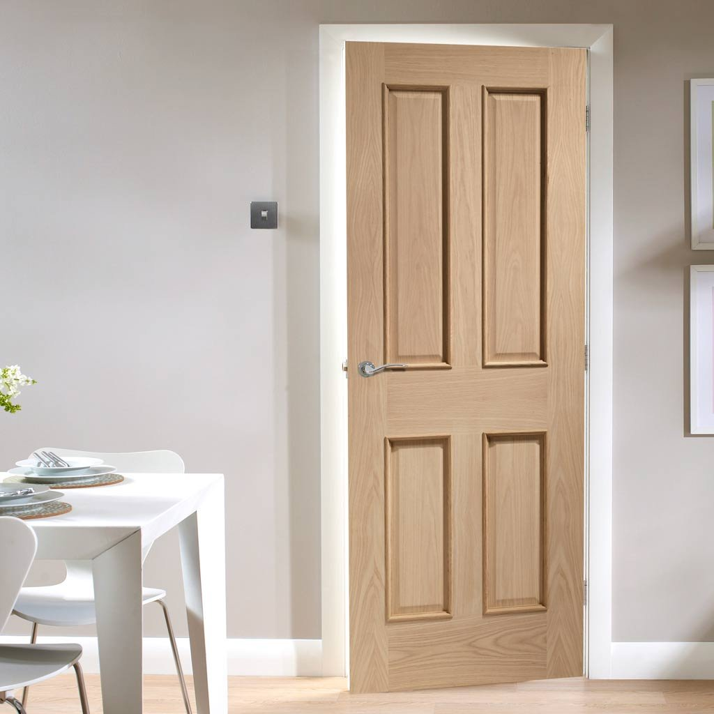 Door and Frame Kit, Victorian Oak 4 Panelled Door - Raised Mouldings